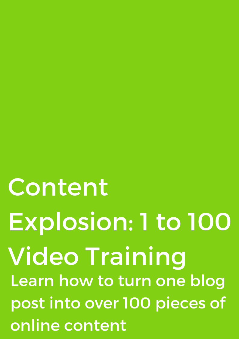 CONTENT EXPLOSION: 1 to 100 - VIDEO TRAINING COURSE
